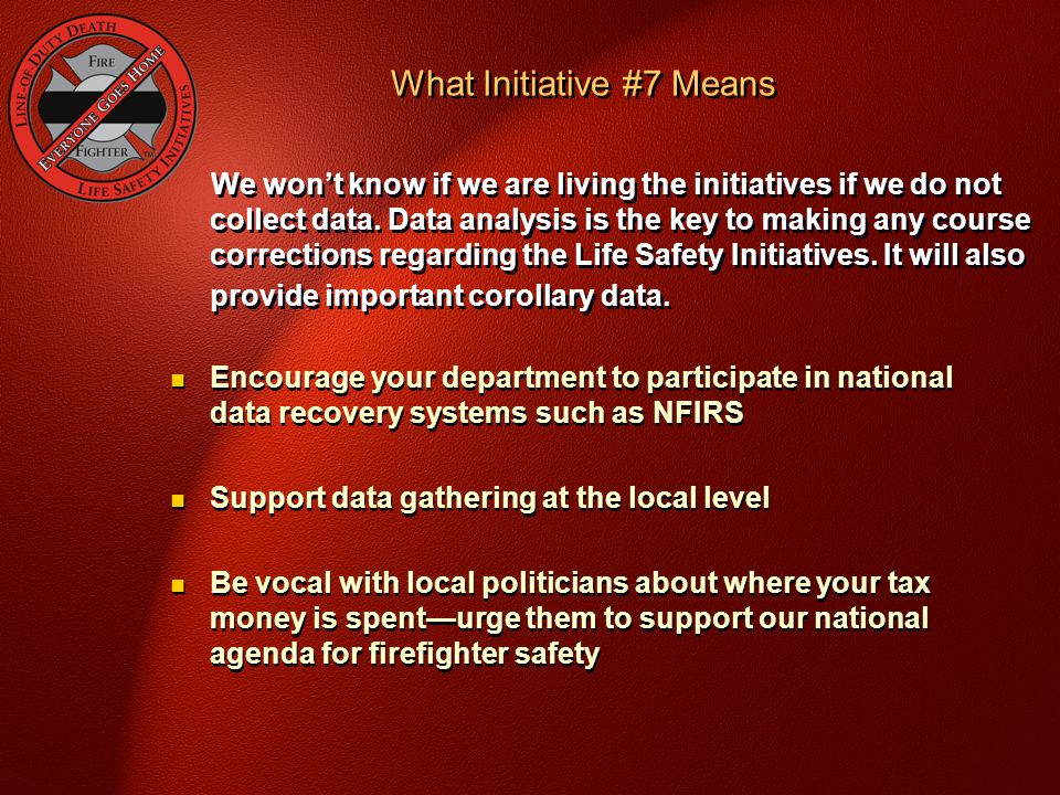 We won't know if we are living the initiatives if we do not collect data.