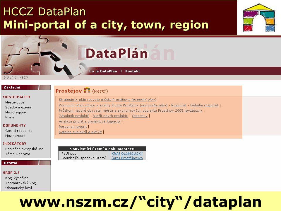 © NSZM ČR 200610 HCCZ DataPlan Mini-portal of a city, town, region www.nszm.cz/ city /dataplan