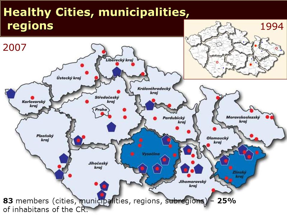 © NSZM ČR 20062 2007 83 members (cities, municipalities, regions, subregions) – 25% of inhabitans of the CR.