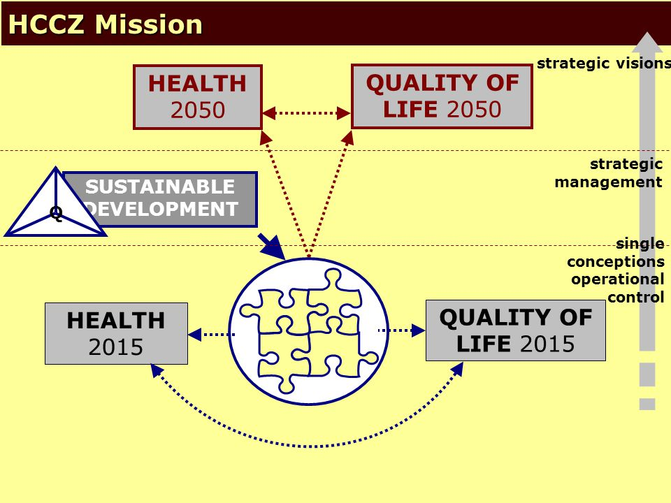 © NSZM ČR 20063 HCCZ Mission QUALITY OF LIFE 2050 HEALTH 2050 single conceptions operational control strategic management HEALTH 2015 strategic visions SUSTAINABLE DEVELOPMENT Q QUALITY OF LIFE 2015