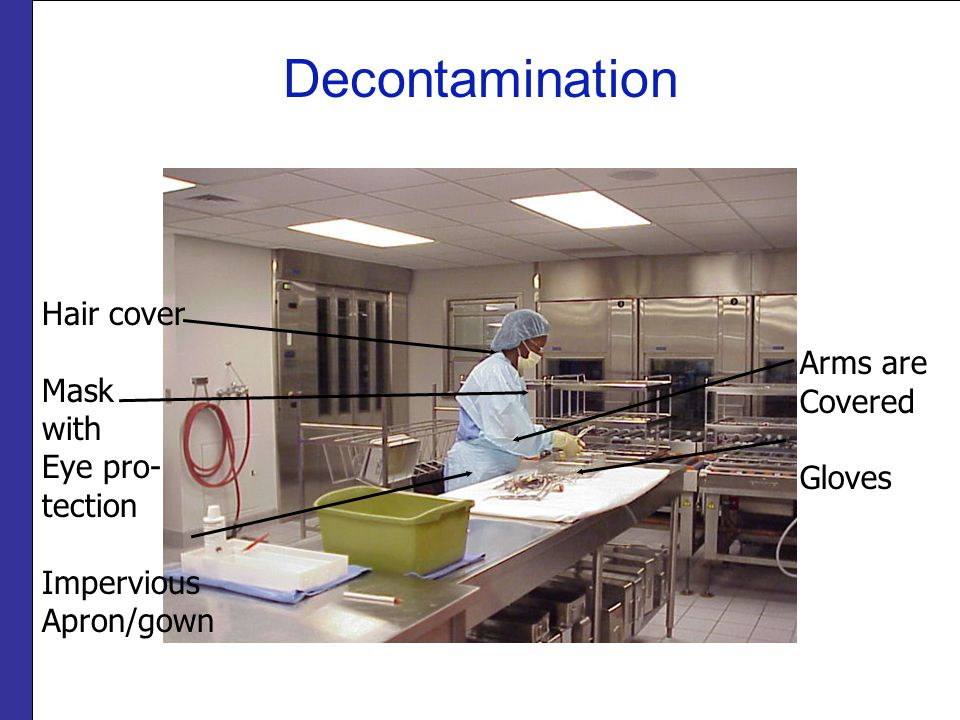 Decontamination Hair cover Mask with Eye pro- tection Impervious Apron/gown Arms are Covered Gloves