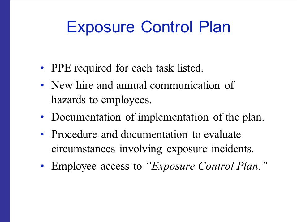 Exposure Control Plan PPE required for each task listed.