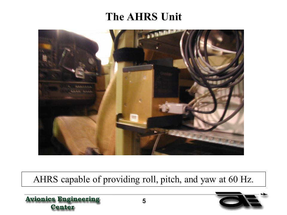 5 The AHRS Unit AHRS capable of providing roll, pitch, and yaw at 60 Hz.