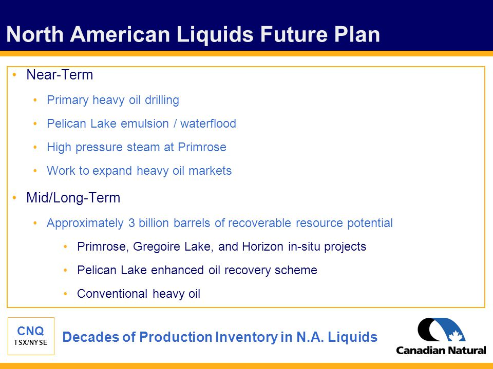 CNQ TSX/NYSE North American Liquids Future Plan Near-Term Primary heavy oil drilling Pelican Lake emulsion / waterflood High pressure steam at Primrose Work to expand heavy oil markets Mid/Long-Term Approximately 3 billion barrels of recoverable resource potential Primrose, Gregoire Lake, and Horizon in-situ projects Pelican Lake enhanced oil recovery scheme Conventional heavy oil Decades of Production Inventory in N.A.