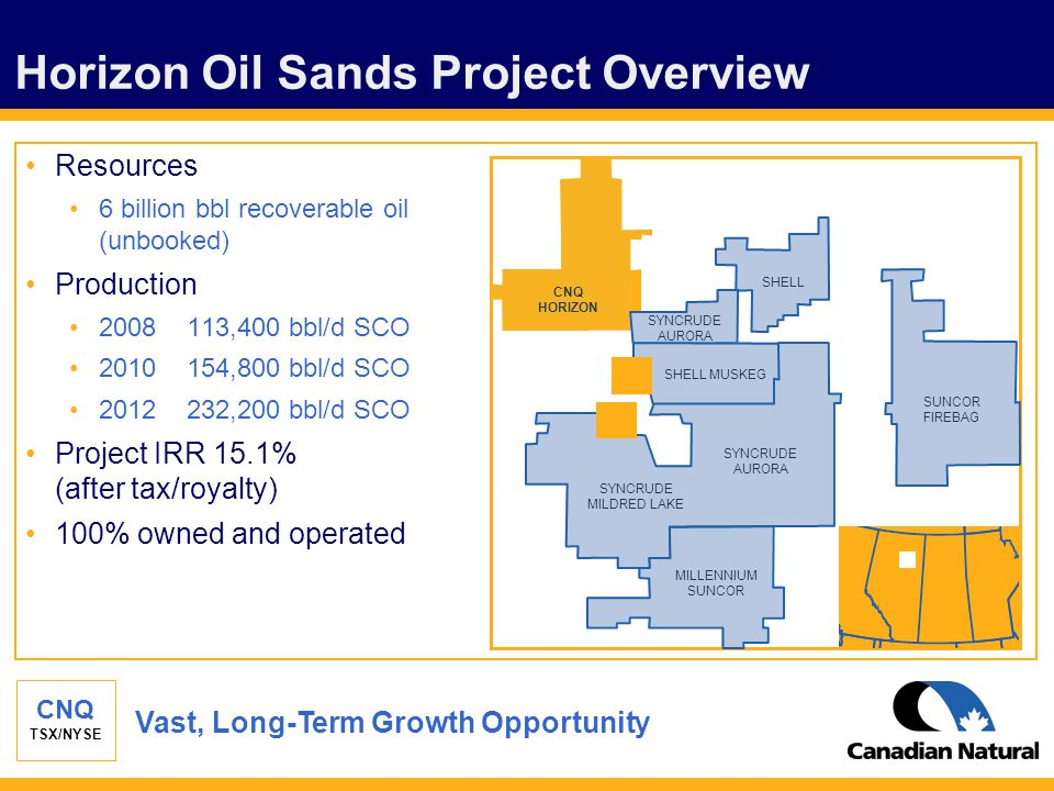 CNQ TSX/NYSE Horizon Oil Sands Project Overview Resources 6 billion bbl recoverable oil (unbooked) Production 2008 113,400 bbl/d SCO 2010 154,800 bbl/