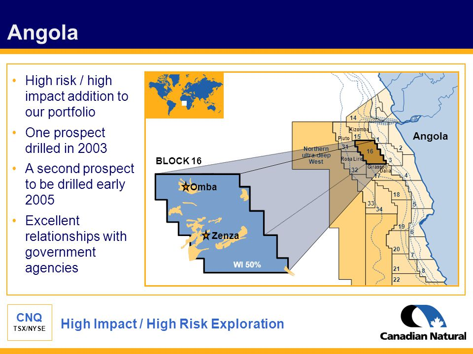 CNQ TSX/NYSE Angola High risk / high impact addition to our portfolio One prospect drilled in 2003 A second prospect to be drilled early 2005 Excellen