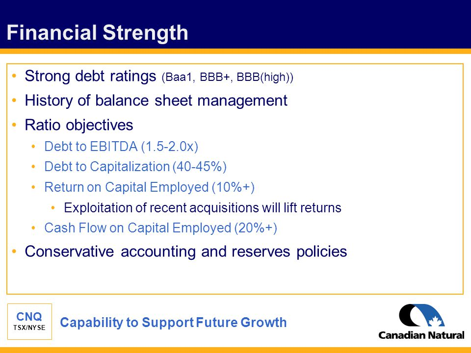 CNQ TSX/NYSE Financial Strength Strong debt ratings (Baa1, BBB+, BBB(high)) History of balance sheet management Ratio objectives Debt to EBITDA (1.5-2
