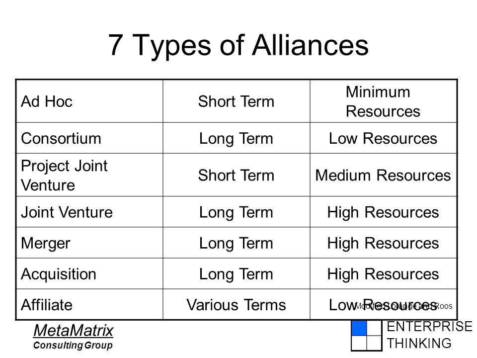 ENTERPRISE THINKING MetaMatrix Consulting Group 7 Types of Alliances Ad HocShort Term Minimum Resources ConsortiumLong TermLow Resources Project Joint Venture Short TermMedium Resources Joint VentureLong TermHigh Resources MergerLong TermHigh Resources AcquisitionLong TermHigh Resources AffiliateVarious TermsLow Resources Modified Lorange and Roos