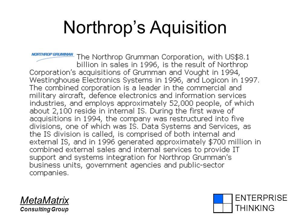 ENTERPRISE THINKING MetaMatrix Consulting Group Northrop's Aquisition