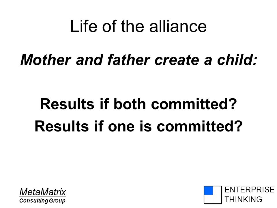 ENTERPRISE THINKING MetaMatrix Consulting Group Life of the alliance Mother and father create a child: Results if both committed? Results if one is co