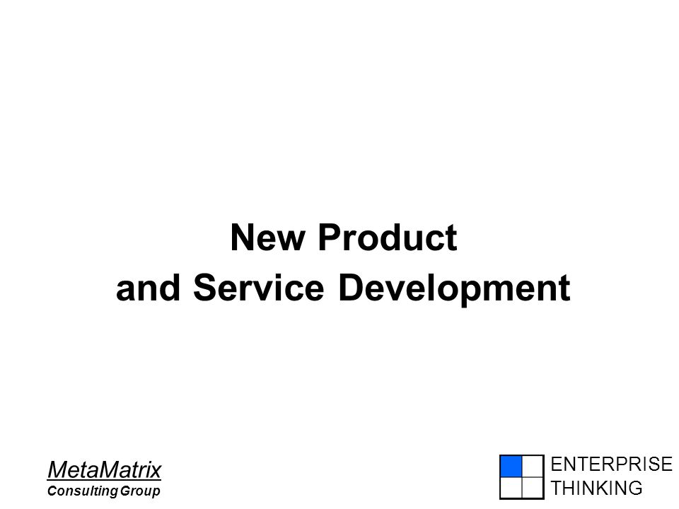 ENTERPRISE THINKING MetaMatrix Consulting Group New Product and Service Development