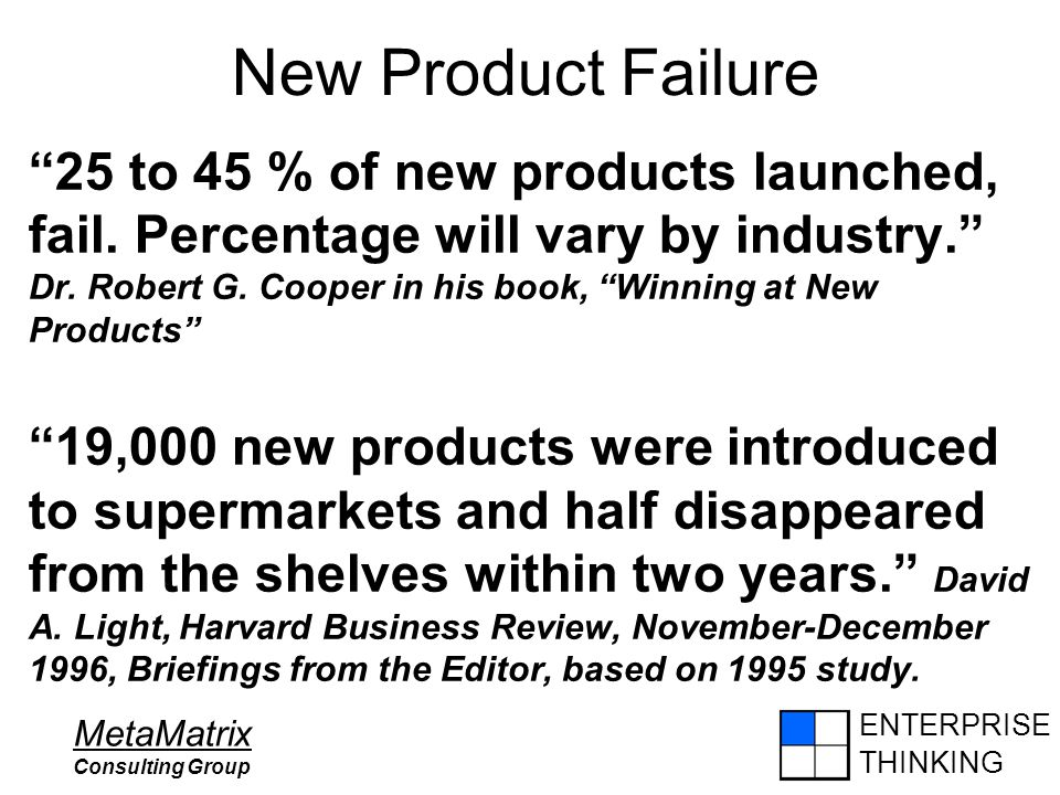 ENTERPRISE THINKING MetaMatrix Consulting Group New Product Failure 25 to 45 % of new products launched, fail.
