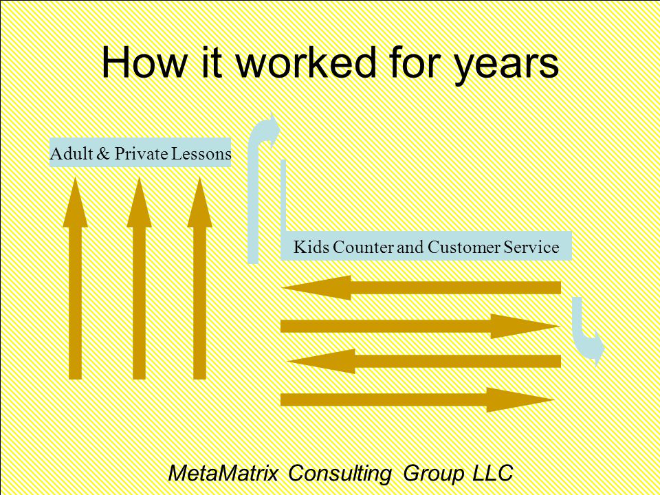 ENTERPRISE THINKING MetaMatrix Consulting Group How it worked for years Adult & Private Lessons Kids Counter and Customer Service MetaMatrix Consulting Group LLC