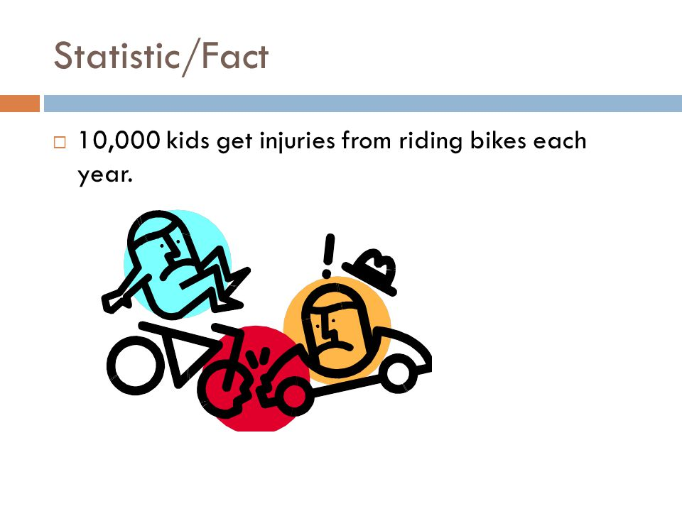 Statistic/Fact  10,000 kids get injuries from riding bikes each year.