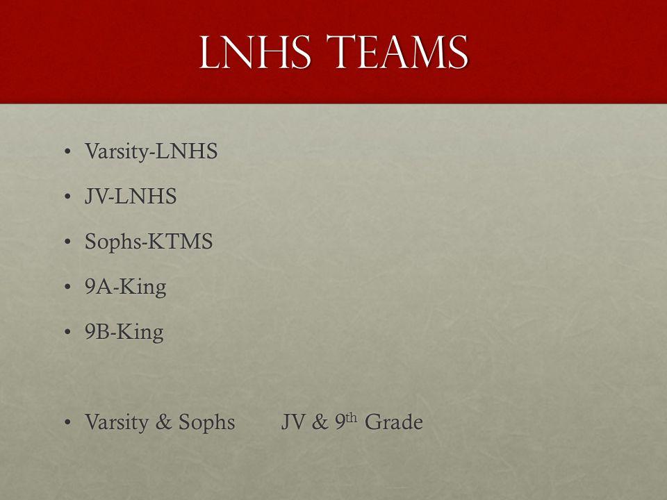 LNHS Teams Varsity-LNHSVarsity-LNHS JV-LNHSJV-LNHS Sophs-KTMSSophs-KTMS 9A-King9A-King 9B-King9B-King Varsity & Sophs JV & 9 th GradeVarsity & Sophs JV & 9 th Grade