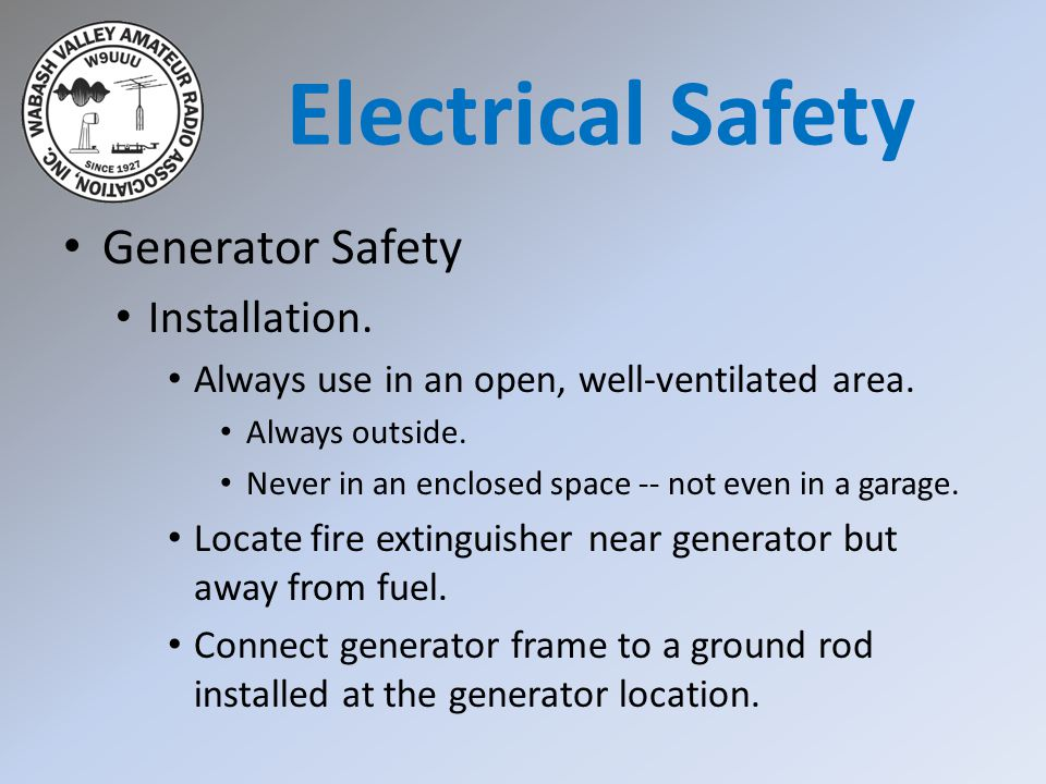 Generator Safety Installation. Always use in an open, well-ventilated area.
