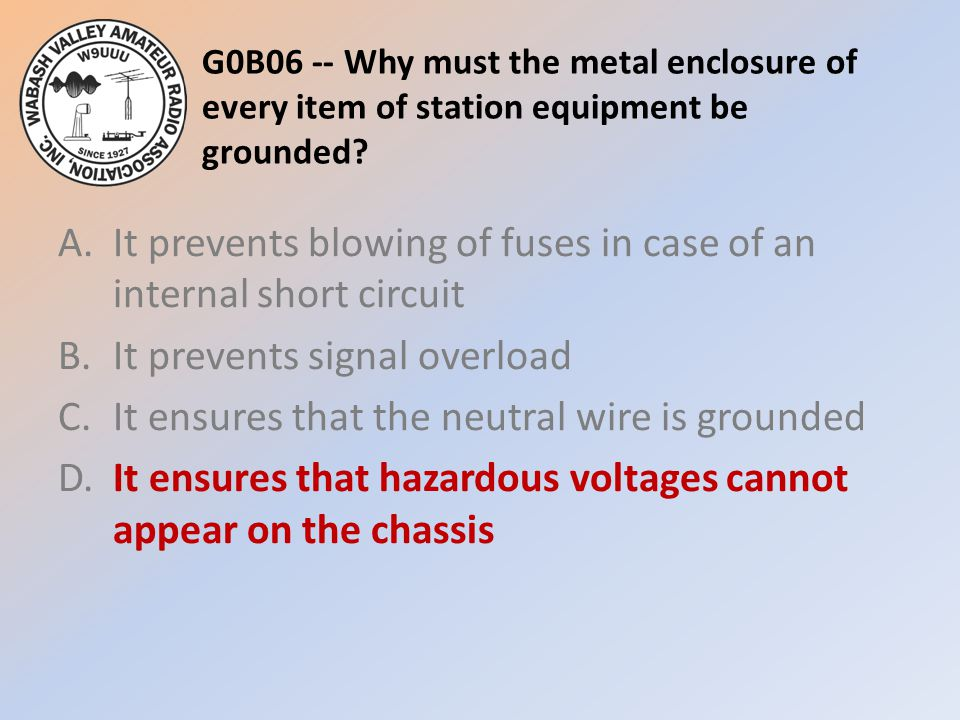 G0B06 -- Why must the metal enclosure of every item of station equipment be grounded.