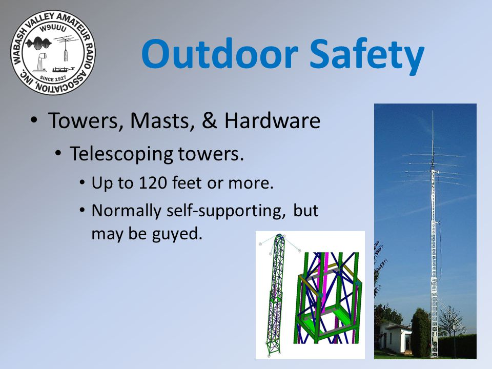 Towers, Masts, & Hardware Telescoping towers. Up to 120 feet or more.