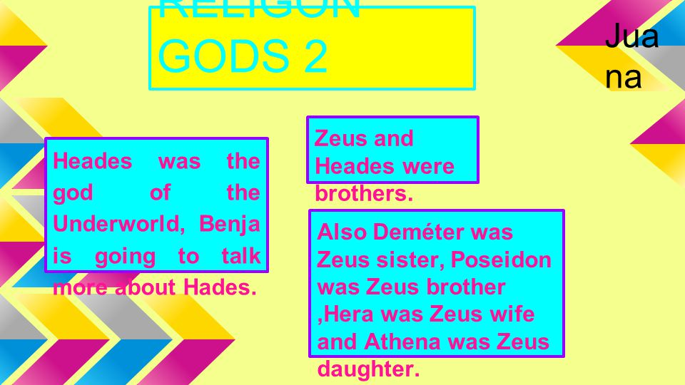 RELIGON GODS 2 Heades was the god of the Underworld, Benja is going to talk more about Hades. Zeus and Heades were brothers. Also Deméter was Zeus sis