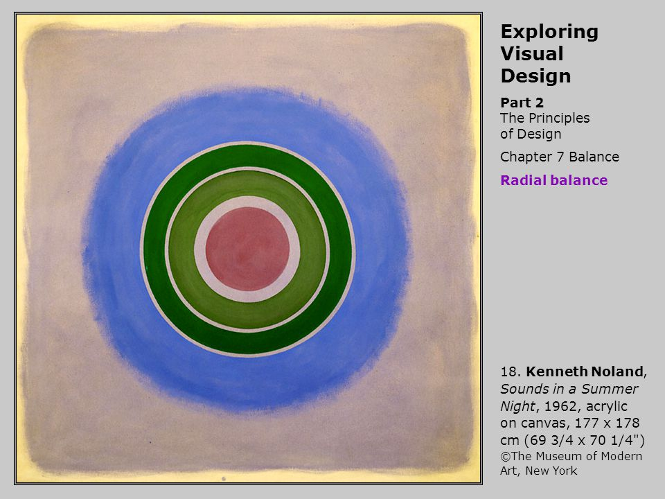 Exploring Visual Design Part 2 The Principles of Design Chapter 7 Balance Radial balance 18. Kenneth Noland, Sounds in a Summer Night, 1962, acrylic o