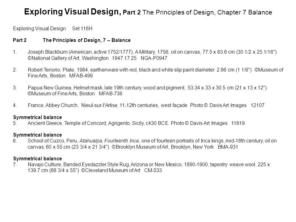 Exploring Visual DesignSet 116H Part 2The Principles of Design, 7 -- Balance 1.Joseph Blackburn (American, active 1752/1777), A Military, 1756, oil on