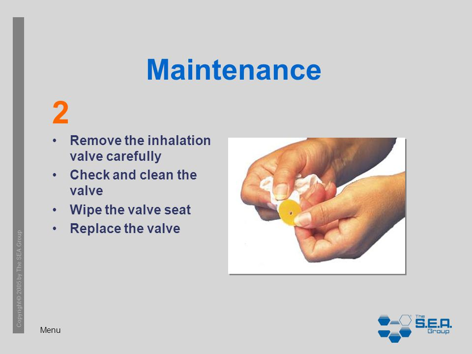 Menu Copyright © 2005 by The SEA Group Maintenance Remove the inhalation valve carefully Check and clean the valve Wipe the valve seat Replace the valve 2
