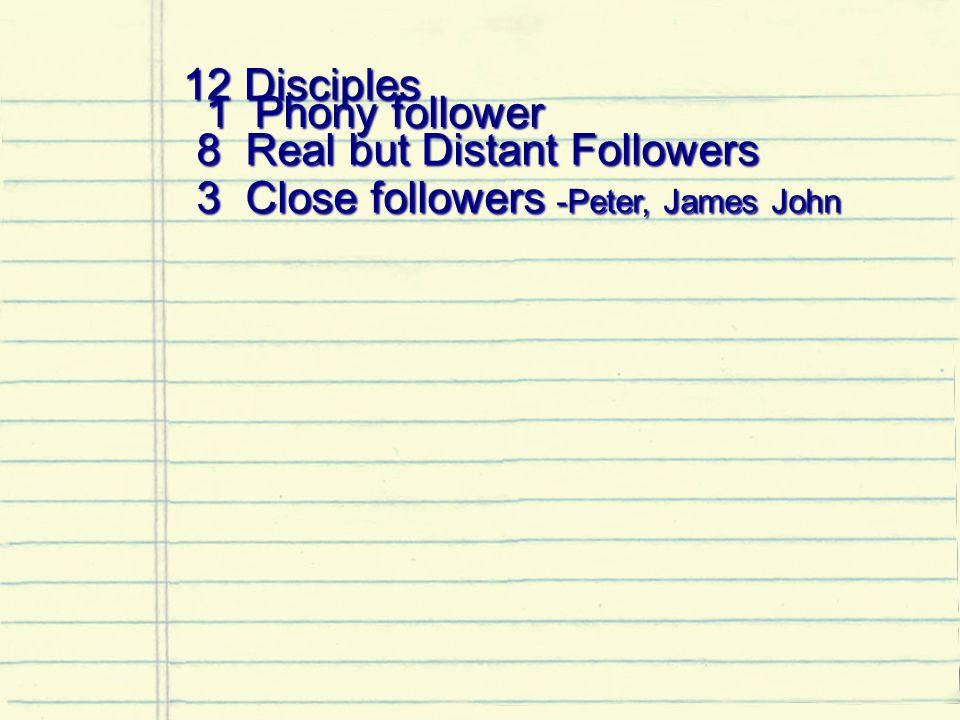 12 Disciples 12 Disciples 1 Phony follower 1 Phony follower 8 Real but Distant Followers 8 Real but Distant Followers 3 Close followers -Peter, James John 3 Close followers -Peter, James John