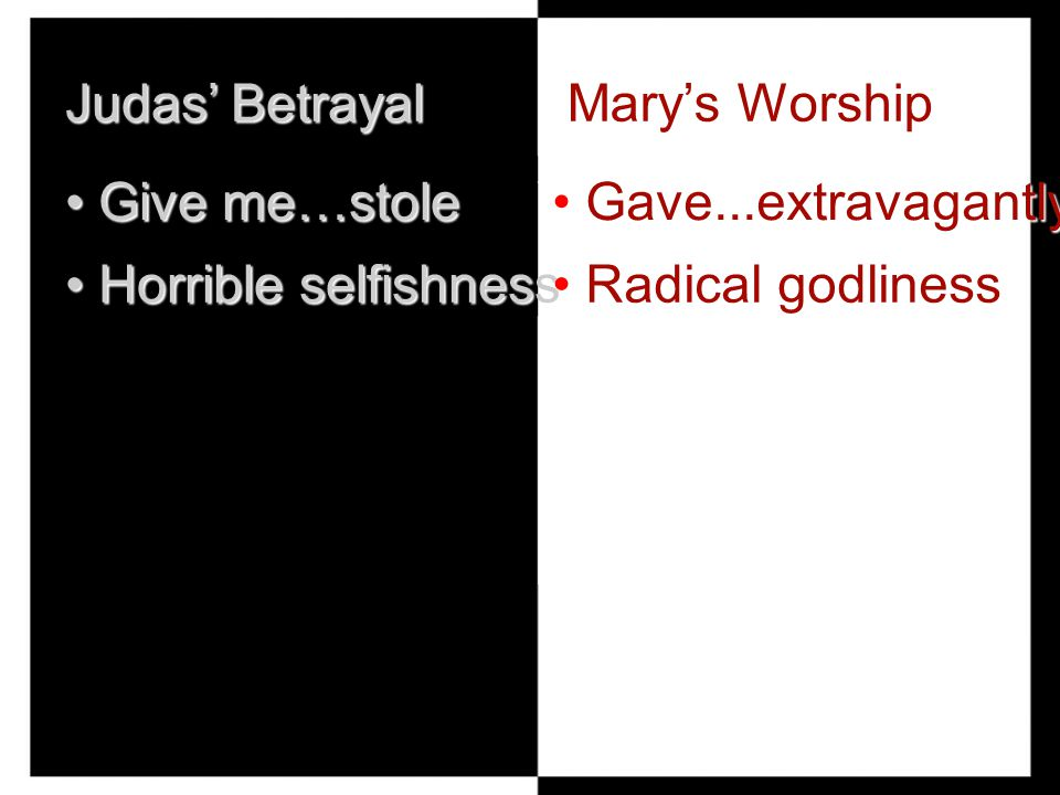 Judas' Betrayal Give me…stole Give me…stole Horrible selfishness Horrible selfishness Mary's Worship Gave...extravagantly Gave...extravagantly Radical godliness Radical godliness