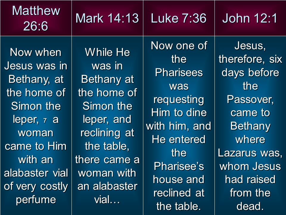 Matthew 26:6 Mark 14:13 Luke 7:36 John 12:1 Now when Jesus was in Bethany, at the home of Simon the leper, 7 a woman came to Him with an alabaster via