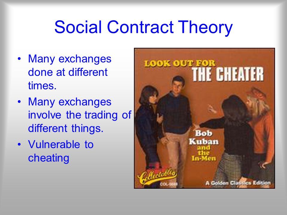 Social Contract Theory Many exchanges done at different times.