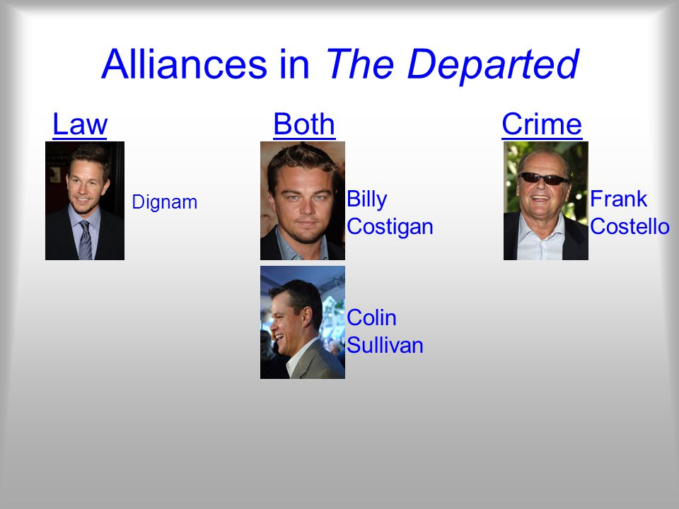 Alliances in The Departed Law Both Crime Billy Costigan Colin Sullivan Frank Costello Dignam