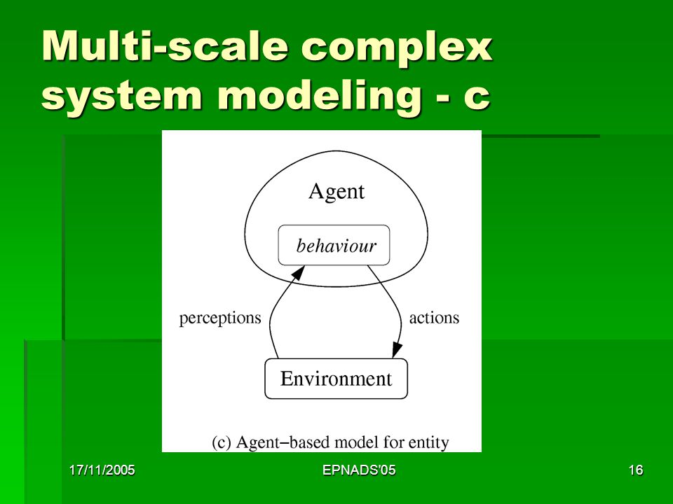17/11/2005EPNADS 0516 Multi-scale complex system modeling - c