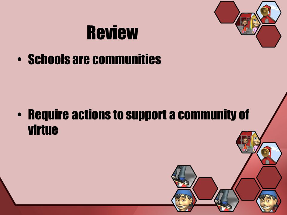 Review Schools are communities Require actions to support a community of virtue