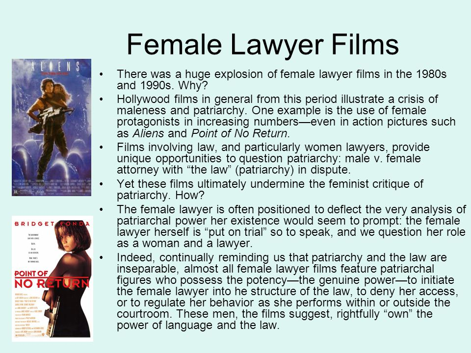 Female Lawyer Films There was a huge explosion of female lawyer films in the 1980s and 1990s.