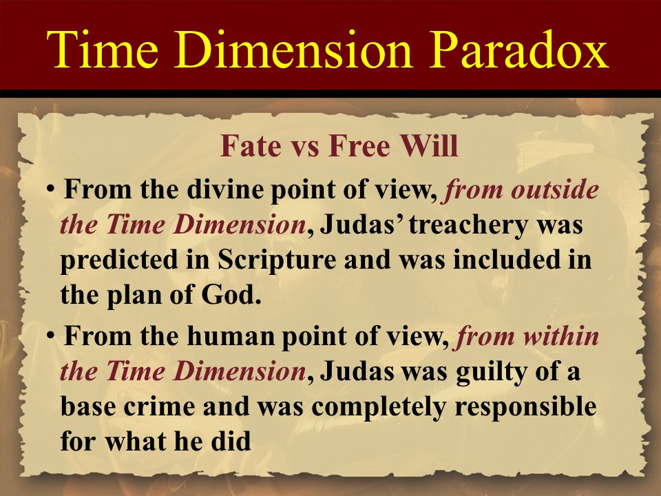 Time Dimension Paradox Fate vs Free Will From the divine point of view, from outside the Time Dimension, Judas' treachery was predicted in Scripture and was included in the plan of God.