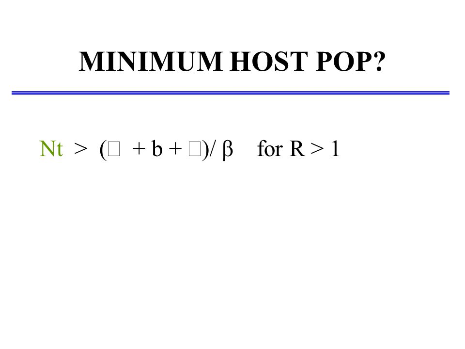MINIMUM HOST POP? Nt > (  + b +  )/  β for R > 1