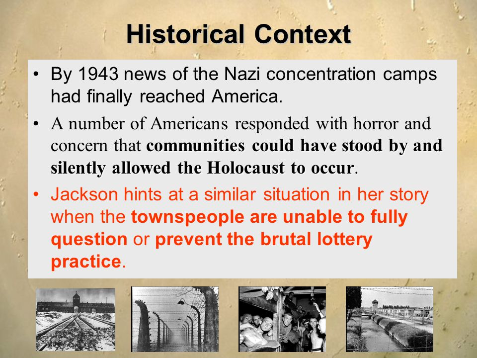 Historical Context By 1943 news of the Nazi concentration camps had finally reached America. communities could have stood by and silently allowed the