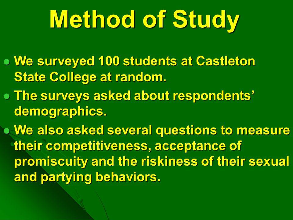Method of Study We surveyed 100 students at Castleton State College at random. We surveyed 100 students at Castleton State College at random. The surv