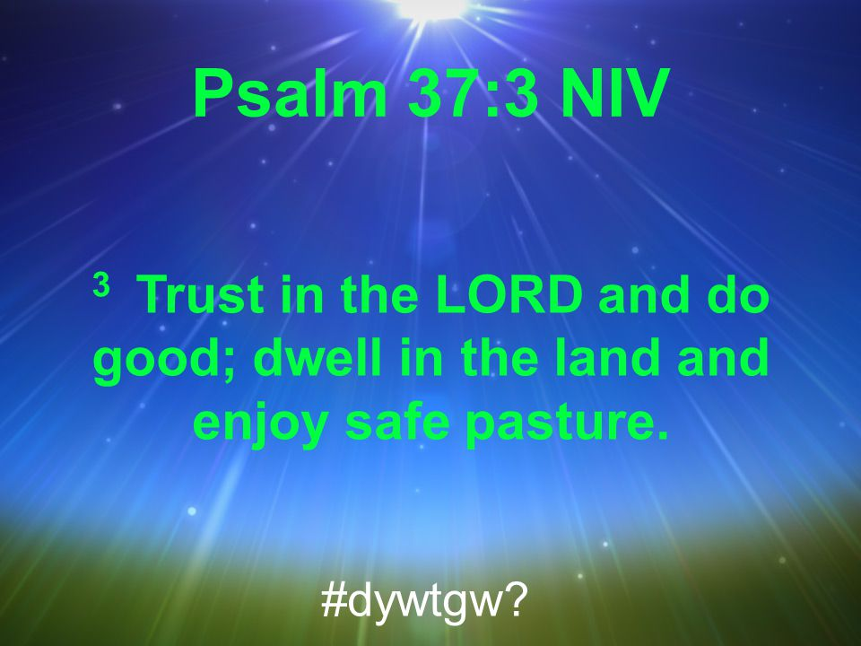 Psalm 37:3 NIV 3 Trust in the LORD and do good; dwell in the land and enjoy safe pasture. #dywtgw
