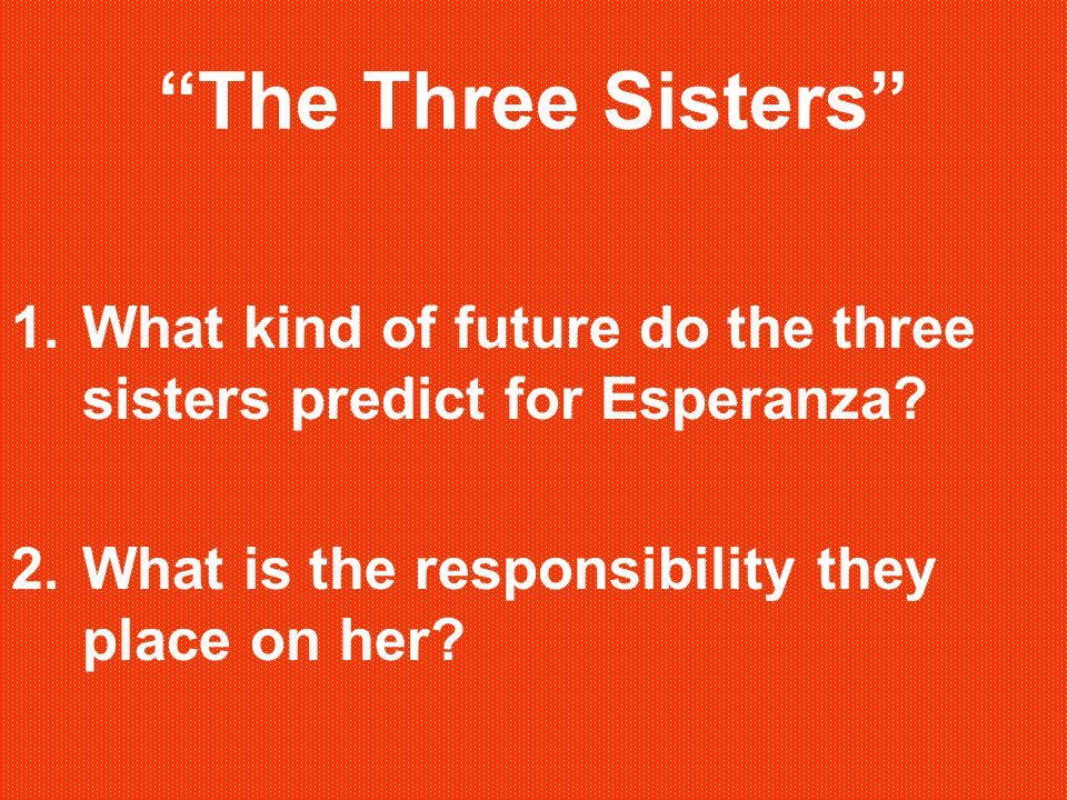 """""""The Three Sisters"""" 1.What kind of future do the three sisters predict for Esperanza? 2.What is the responsibility they place on her?"""