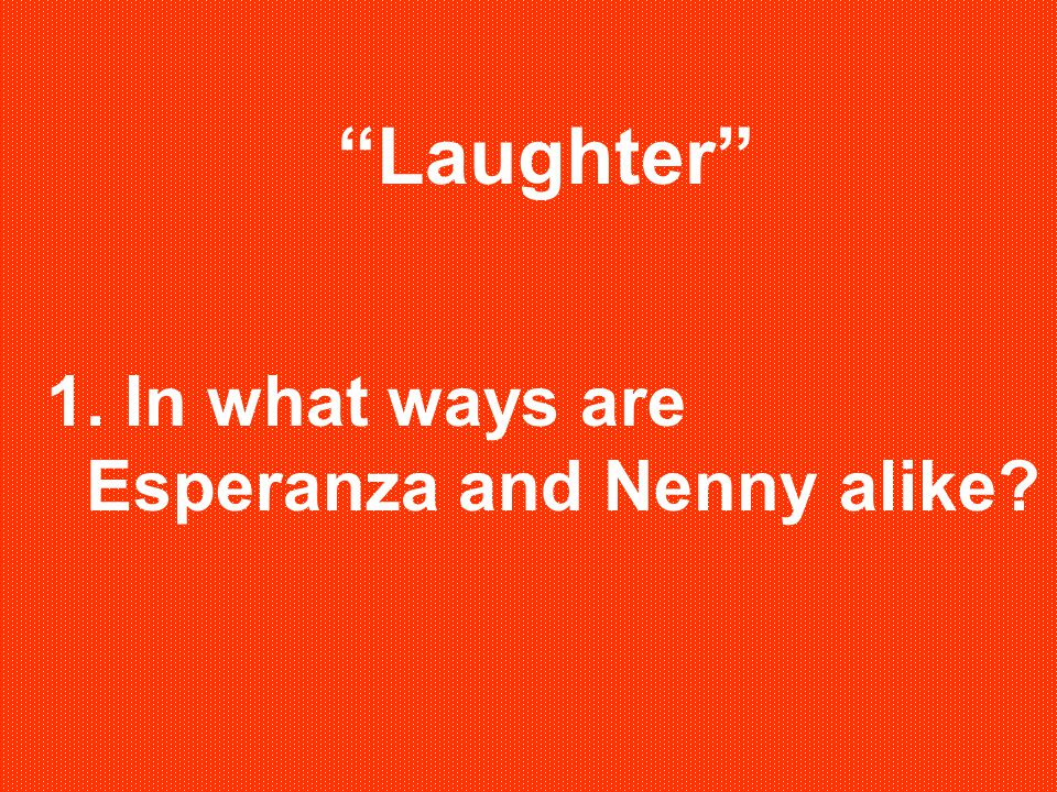 Laughter 1. In what ways are Esperanza and Nenny alike?