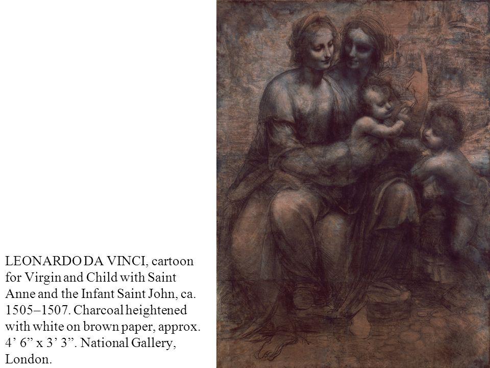 LEONARDO DA VINCI, cartoon for Virgin and Child with Saint Anne and the Infant Saint John, ca.
