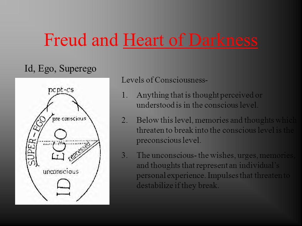 Freud and Heart of Darkness Levels of Consciousness- 1.Anything that is thought perceived or understood is in the conscious level.