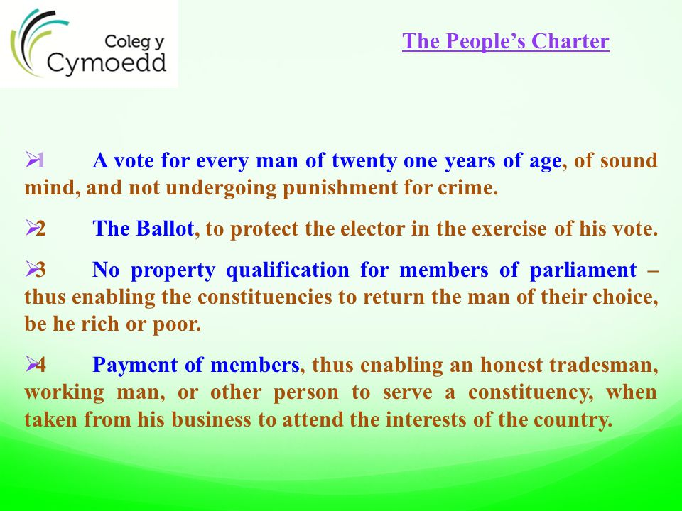  1A vote for every man of twenty one years of age, of sound mind, and not undergoing punishment for crime.