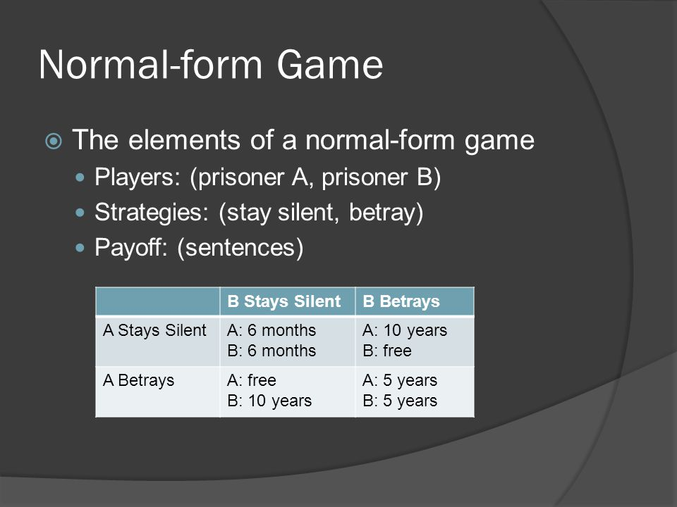 Normal-form Game  The elements of a normal-form game Players: (prisoner A, prisoner B) Strategies: (stay silent, betray) Payoff: (sentences) B Stays SilentB Betrays A Stays SilentA: 6 months B: 6 months A: 10 years B: free A BetraysA: free B: 10 years A: 5 years B: 5 years