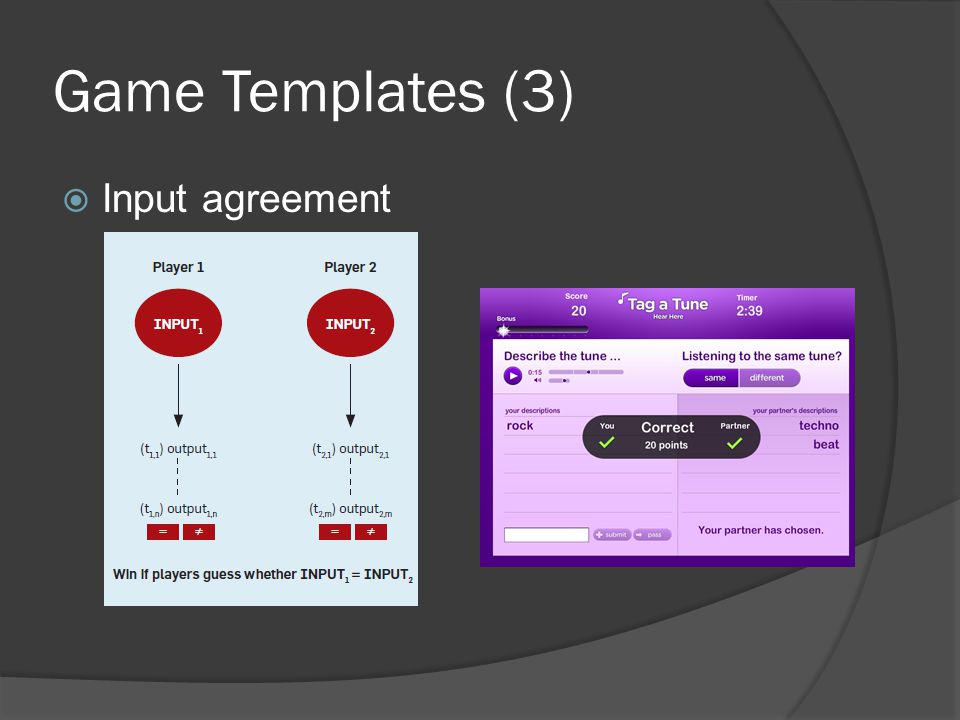 Game Templates (3)  Input agreement