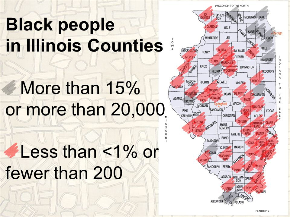 Black people in Illinois Counties More than 15% or more than 20,000 Less than <1% or fewer than 200