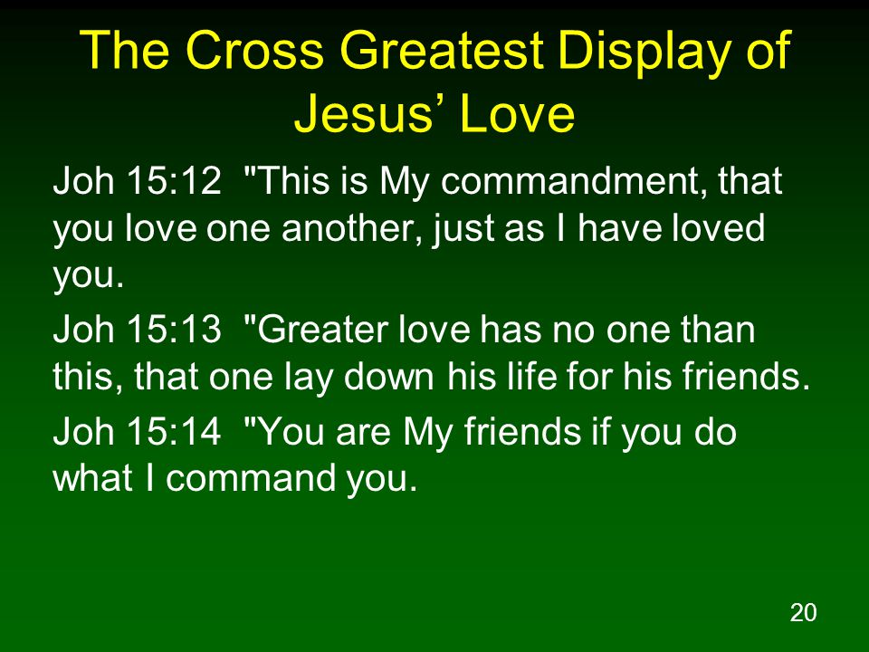 20 The Cross Greatest Display of Jesus' Love Joh 15:12
