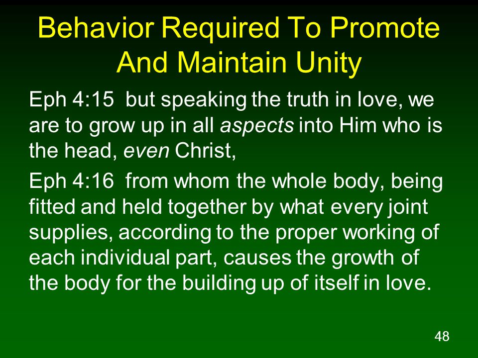 48 Behavior Required To Promote And Maintain Unity Eph 4:15 but speaking the truth in love, we are to grow up in all aspects into Him who is the head,