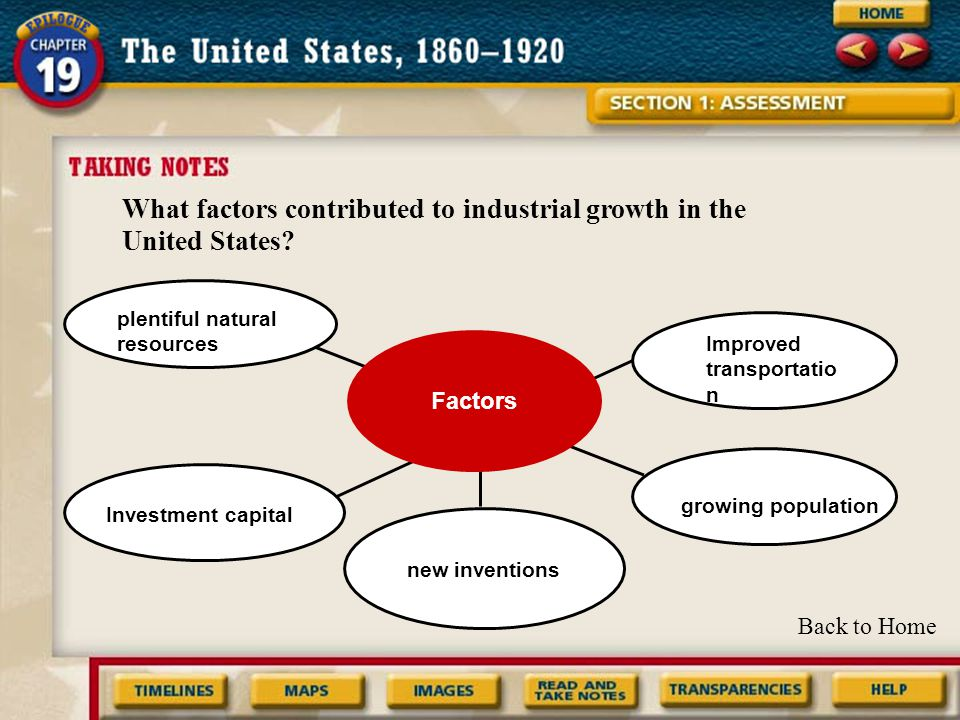Factors What factors contributed to industrial growth in the United States.